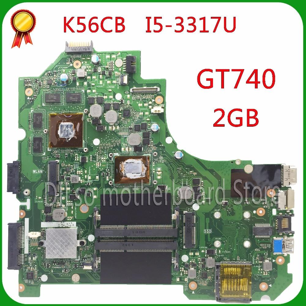 KEFU K56CM For ASUS K56CM K56CB A56C S550CM Laptop Motherboard i5 3317U PM K56CM GT740 2GB