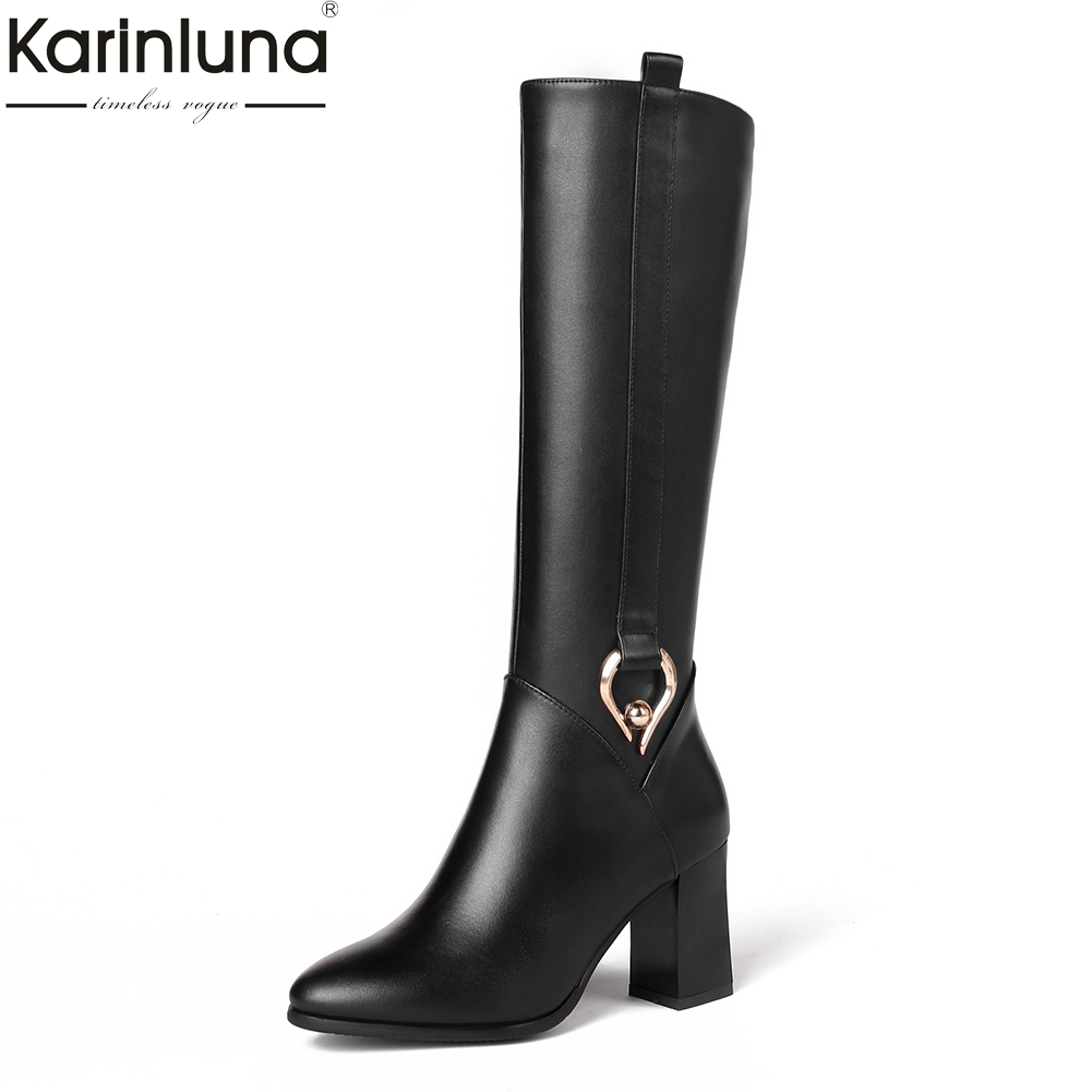 KarinLuna 2018 Genuine Leather Plus Size 31-45 Fashion Party Shoes Women Square High Heels Party Boots Woman Knee High Boots karinluna 2018 top quality size 33 41 brand shoes women knee high boots genuine leather square heels riding boots woman shoes