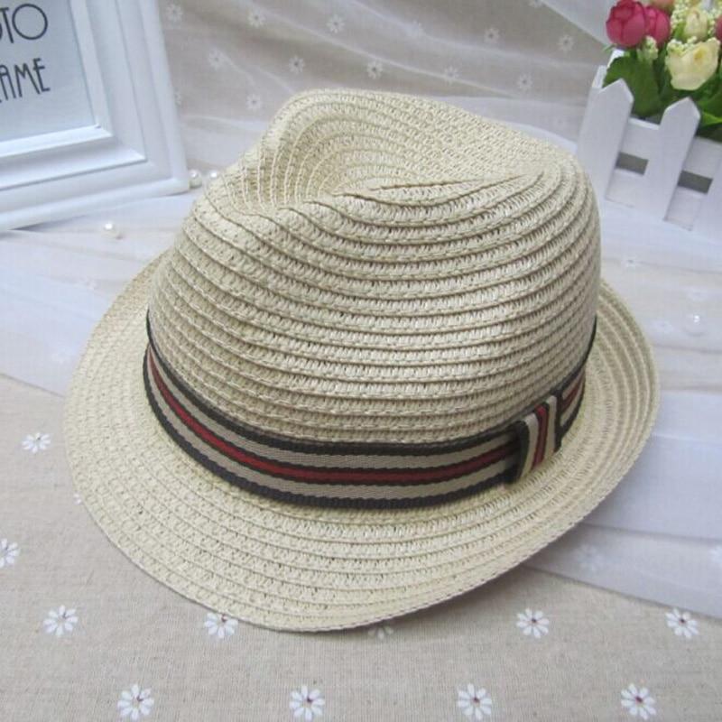 Детска мода Федорас Момчета и Момичета Колан Джаз Шапка Пролет Лято Дъга слънчеви шапки Подходящи за обиколка на главата 51-52 см
