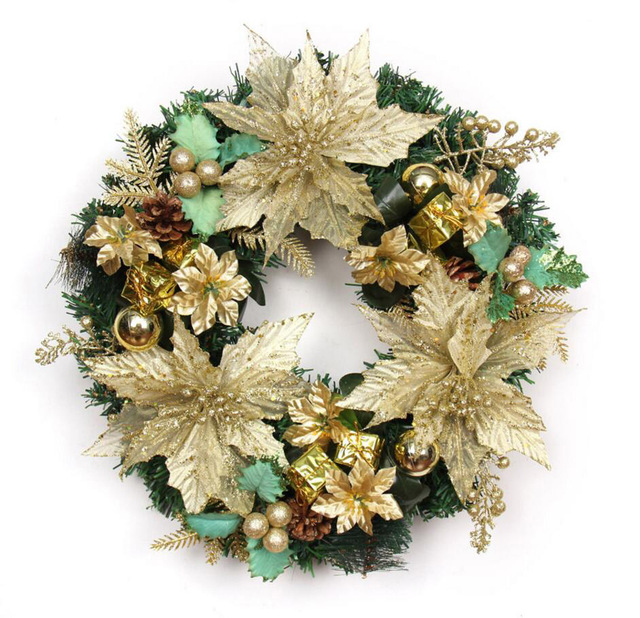 40cm gold christmas garland wreath with leaf fruits pinecone bells flowers christmas party holiday home hotel