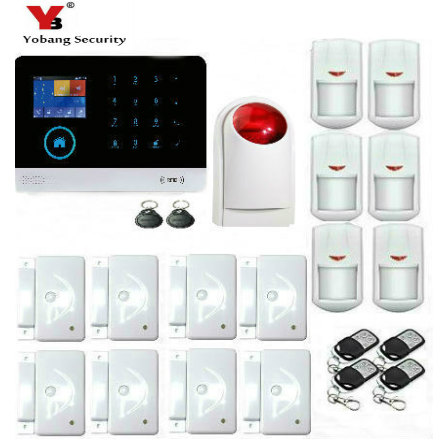 цена Yobang Security WIFI Burglar Wireless GSM GPRS SMS, RFID House Security Alarm System with Wireless Indoor Siren Russian Spanish