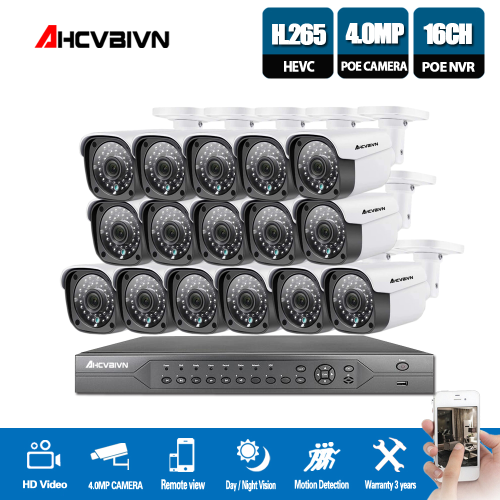 H.265 16CH 4K 5MP CCTV Security System 5MP HD POE NVR Kit 4.0MP Bullet outdoor POE IP Camera P2P ONVIF Video Surveillance SetH.265 16CH 4K 5MP CCTV Security System 5MP HD POE NVR Kit 4.0MP Bullet outdoor POE IP Camera P2P ONVIF Video Surveillance Set