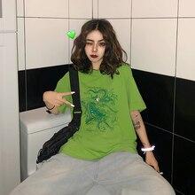 Harajuku, camiseta vintage divertida de dragón para mujer, camisetas de manga corta Ulzzang, ropa dropshipping, camiseta gótica de algodón vegana, camiseta punk