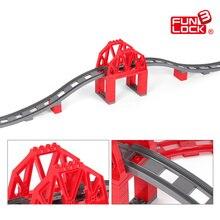 Funlock Duplo 39 unids Juguetes Puente Del Tren Bloques De Construcción para Niños Creativos Vías Del Tren Ladrillos Educativos para Niños