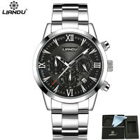 LIANDU Men S Fashion Business Watch Chronograph Unique Engraved Dial Military Sport Watches Relogio Masculino Esportivo