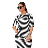 1 Pcs Summer Dress Women Bodycon Slim Striped Half Sleeve Bandage Evening Party Dress Plus Size
