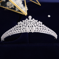 Top Quality European Royal Queen Silver Tiaras Crowns for Brides Crystal Brides Hairbands Full Zircon Wedding Hair Accessories