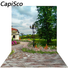 Capisco Garden Blooming Flower Scenic Photo Backgrounds Customized Vinyl Photographic Backdrops For Photo Studio(China)