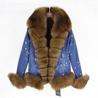 Brand brand Parka Real Fur Coat 2019 Denim Parka Winter Jacket Women Real Natural Fox Fur Coat Thick Warm Fur Parkas Etachable