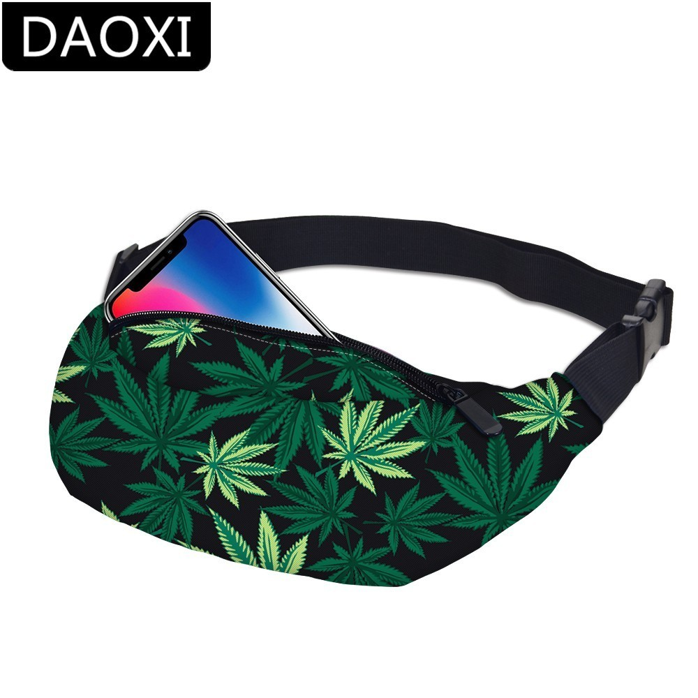 DAOXI Waist Packs 3D Printing Green Leaves Fanny Packs Bum Bag For Women Travelling DXYB-7