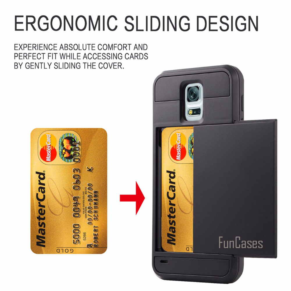 Case For Samsung Galaxy Note 3 4 5 S3 S4 S5 S6 S7 Edge S8 Plus Case Hybrid Armor PC+TPU 2 In 1 Card Slider With Card Storage ...