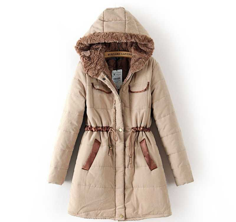ФОТО 2015 Winter Coat Women Parkas Women Large Fur Coat Wadded Women Jacket Female Cotton-Padded Jacket Army Green H4507