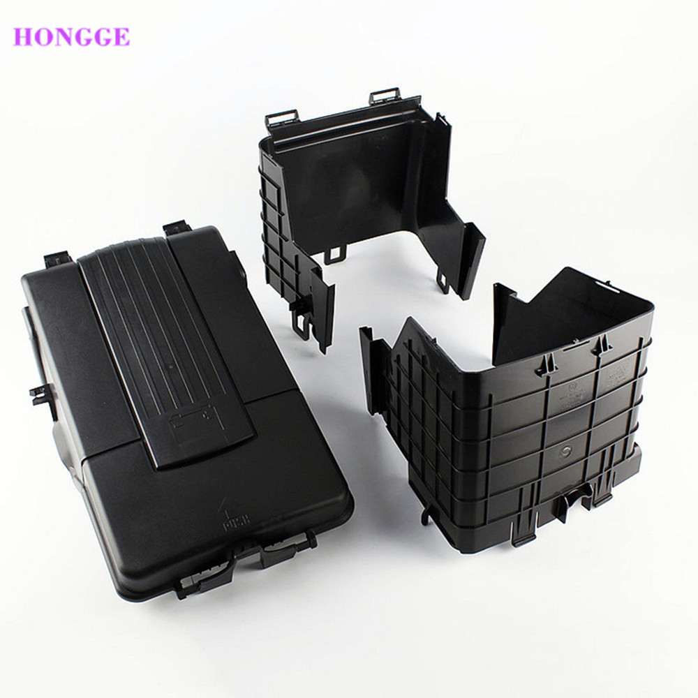hongge new 3 pcs battery cover dust cover assembly for vw jetta golf mk5 mk6 passat b6 tiguan a3. Black Bedroom Furniture Sets. Home Design Ideas