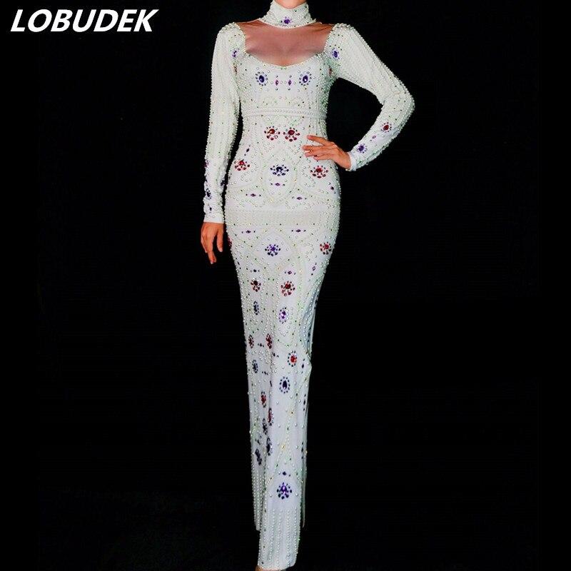Luxe Bal Coloré Maigre White Robe Femmes Du De Chanteur Blanc Stade Costume Strass Longue Tenue Discothèque Catwalk Parti Sexy Perle shxQdCrt