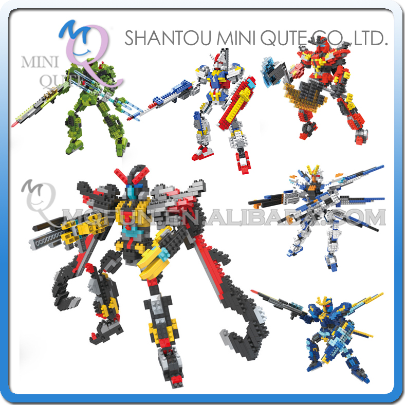 Full Set 6pc/lot Mini Qute HC Huge super hero robot Gundam plastic building block model action figures education educational toy mini qute full set 2 pcs lot hc zootopia huge nick wilde judy hopps plastic building block cartoon model educational toy no 9011