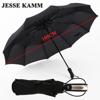 JESSE KAMM New Fully automatic Three Folding Male Commercial Compact Large Strong Frame Windproof 10Ribs Gentle Black Umbrellas
