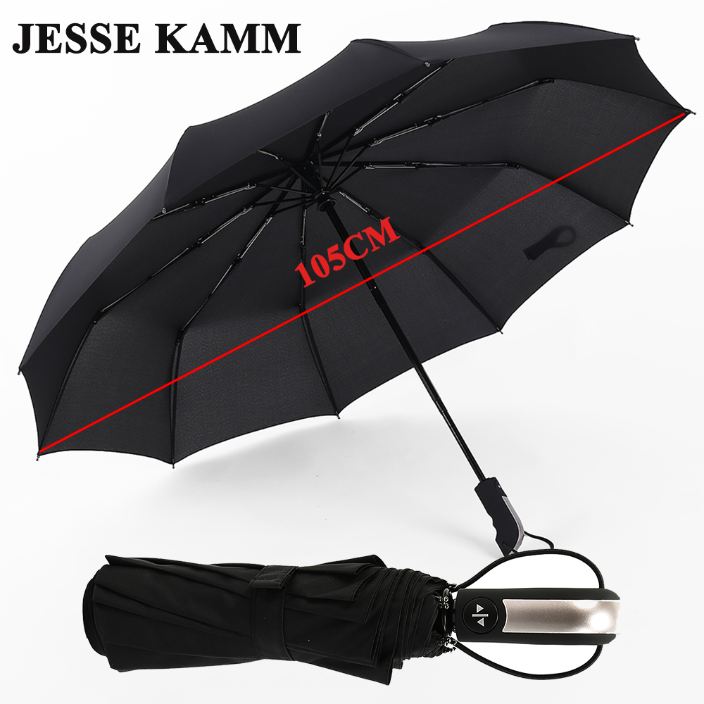 JESSE KAMM Nouveau Entièrement automatique Trois Pliage Mâle Commerciale Compact Grand Forte Cadre Coupe-Vent 10 Côtes Doux Noir Parapluies