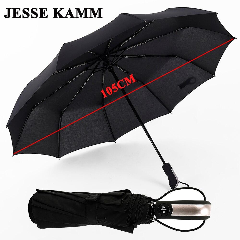 JESSE KAMM Novo Totalmente-Compacto automático Três Folding Comerciais Masculinos Grande Armação Forte e À Prova de Vento Costelas 10 Gentil Black Umbrellas