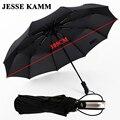 JESSE KAMM totalmente automática tres hombre comercial compacto grande marco fuerte a prueba de viento 10 costillas suave negro paraguas