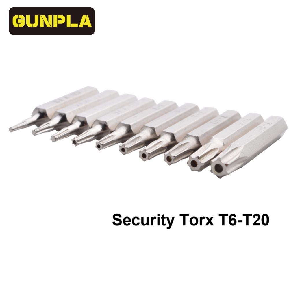 Gunpla 10-Piece Chrome Vanadium Steel Torx Bit Driver Set Includes T3,T4,T5,T6,T7,<font><b>T8</b></font>,T9,<font><b>T10</b></font>,T15,T20(T6-T20 Security torx) image