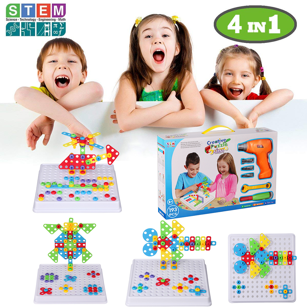 193Pcs/Set STEM Learning Educational Design Drill toy Engineering Building Blocks Set for 3, 4 and 5+ Year Old Best Toy Gift 196pcs building blocks urban engineering team excavator modeling design