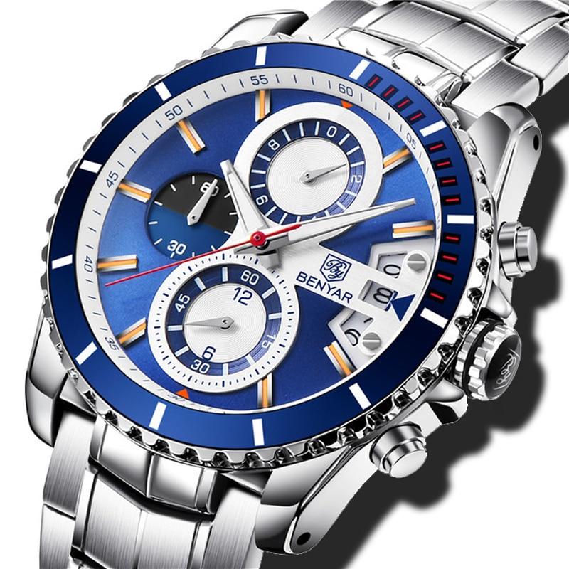 купить BENYAR Men's business Quartz Watch New Fashion Chronograph Sport Clock Men Watches stainless steel Wristwatch Relogio Masculino онлайн