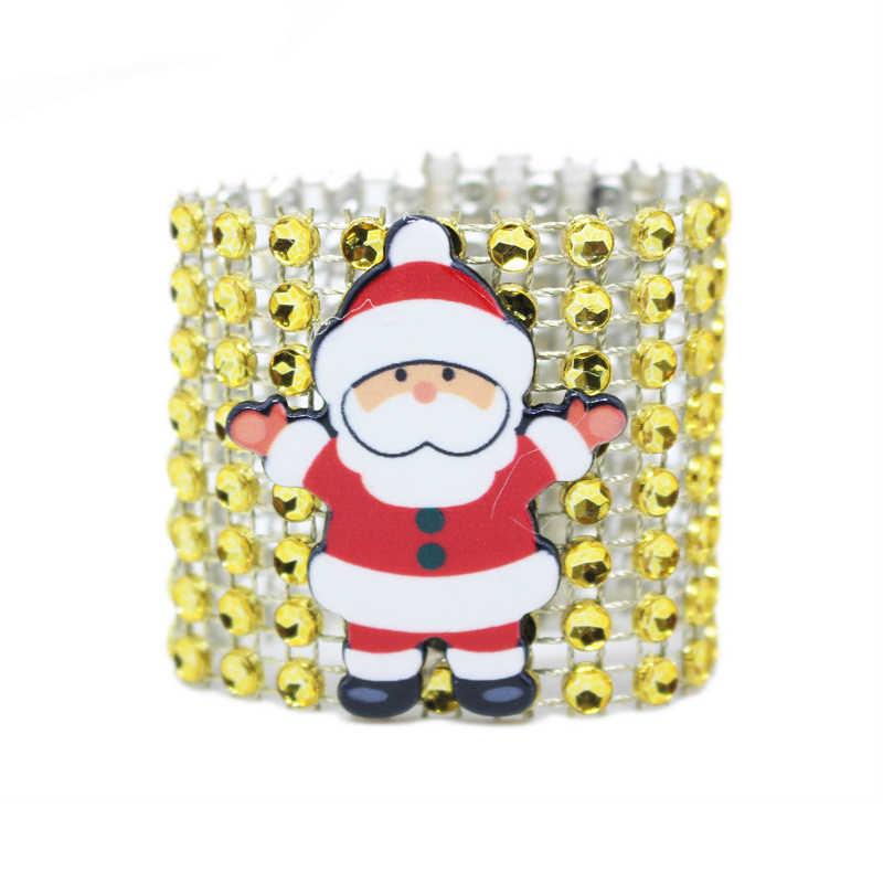 10 шт. алмазные кольца для салфеток Санта-Клауса, свадебные салфетки, держатели со стразами для стула, банкетки, рождественские украшения для стола