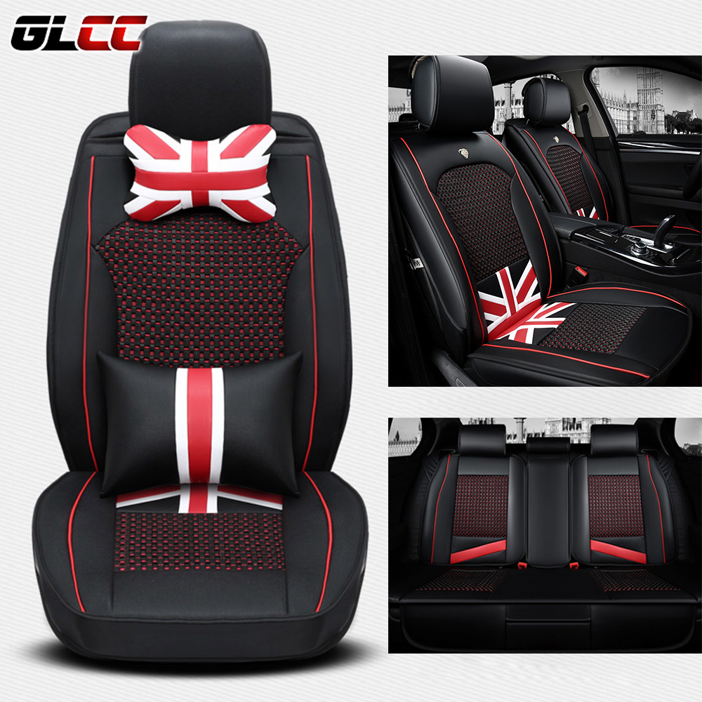 Car Seat Covers Universal England style four seasons ice silk PU leather seat cover cushion auto styling accessories brand new styling luxury ice silk car seat covers 1pc front complete set for universal seat car four season auto accessories