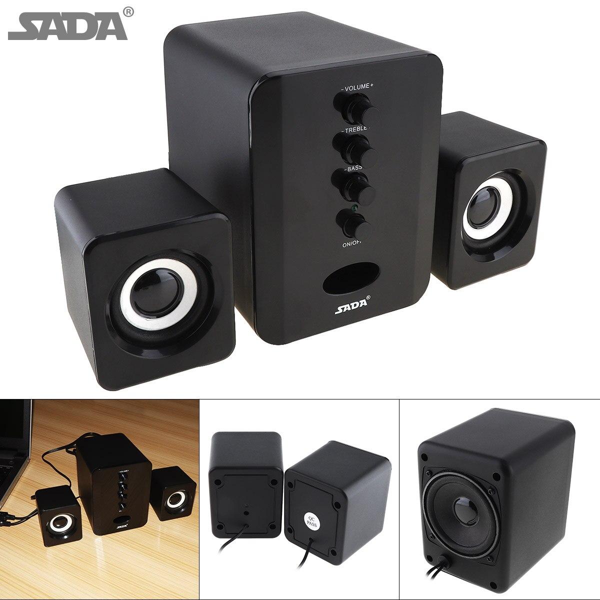 SADA Full Range 3D Stereo 2.1 Subwoofer Wireless Bluetooth PC Speaker Portable bass Music DJ USB Computer Speakers for Phone TV sticker