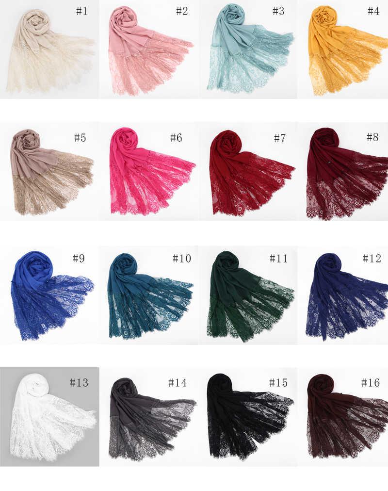 1 PC Populer Tepi Renda Syal Jilbab Wanita Polos Maxi Selendang Bunga Putih Renda Foulard Lembut Kapas Muslim Jilbab syal