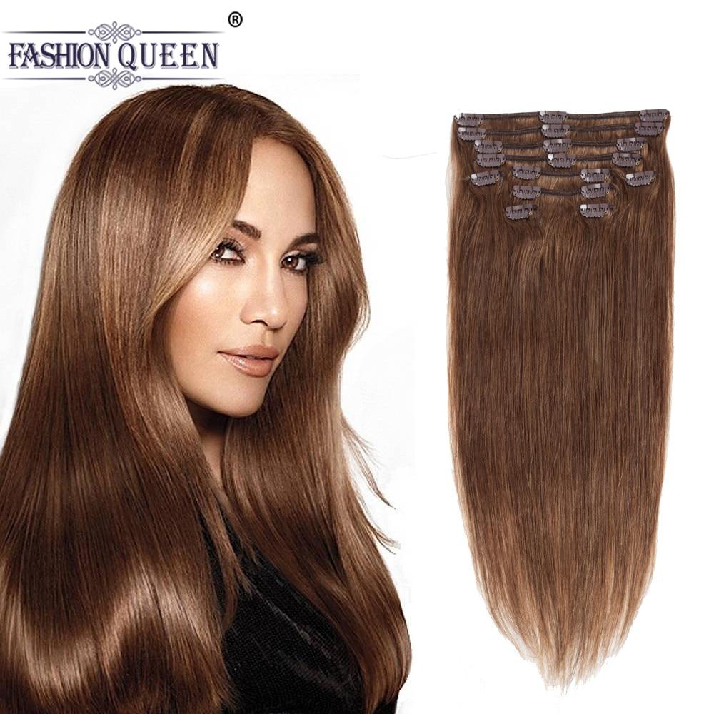 Full Head Clip in Human Hair Extensions DARK BROWN (Col 4), Silky Straight clip hair Brazilian Human Hair extensions