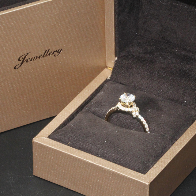 9K Yellow Gold 1CT Simulated Diamond Ring