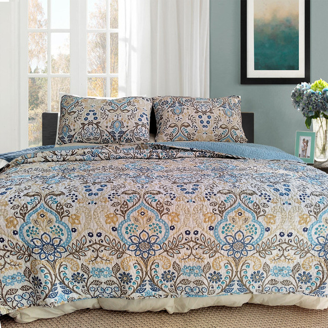 CHAUSUB Quality Vintage Quilt Set 3PCS Washed Cotton Quilts Quilted Bedspread  Bed Cover Pillowcase Coverlet Set