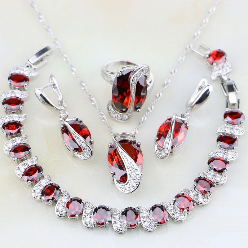 925 Sterling Silver Jewelry Red Zircon White CZ Jewelry Sets For Women Wedding Necklace/Earrings/Bracelet/Pendant/Ring viennois new blue crystal fashion rhinestone pendant earrings ring bracelet and long necklace sets for women jewelry sets