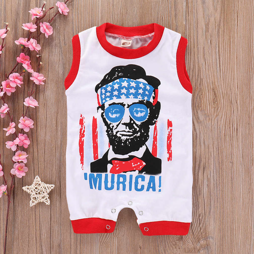 Infant Baby Kid 4th of July Stars Letter Printed Romper Jumpsuit Sunsuit Outfits Baby Zomer Kleding Meisje Baby Body Garcon