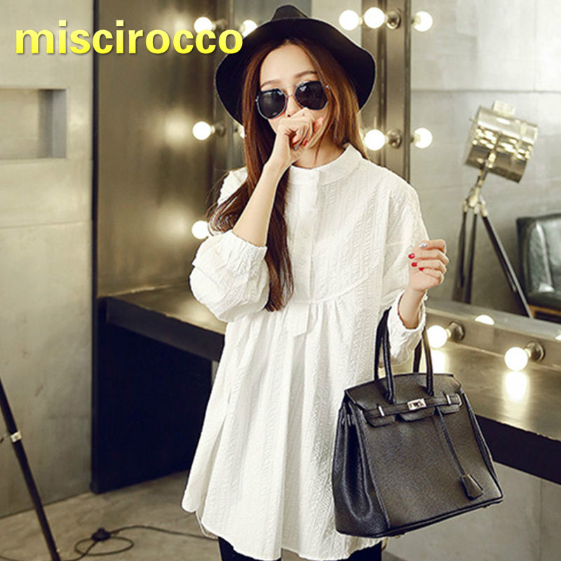 Cotton White Pregnant Women Long Sleeved Shirt Autumn Soft Maternity Tops OL Clothing Basic Style Comfortably Breathable