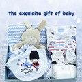 2017new 8 unidades set mameluco del bebé confort baberos de toalla guantes sombrero edredón exquisita caja de prince regalo de cumpleaños del niño recién nacido regalo