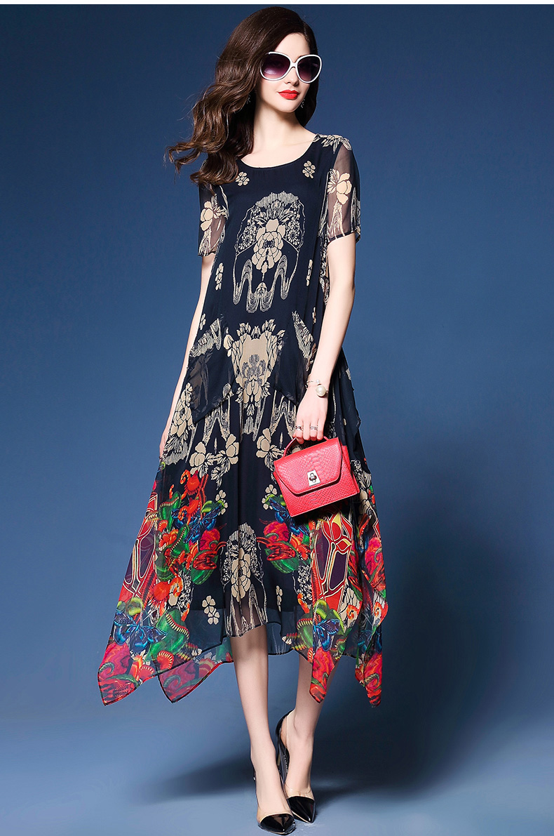 Elegant Floral Print Short Sleeve Loose O-neck Chiffon Dress