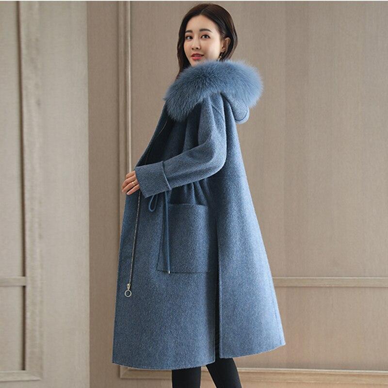 Coréenne Laine Grand Minceur De Fourrure Veste blue Épaississement Automne Manteau Gray Tempérament Mode Capuchon Femme Chaud Hiver Version À Col xqAz0x5On