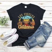 Camiseta con estampado de letras de LOS ANGELES California, camisetas gráficas con paisaje de playa para mujer, camisetas de verano de manga corta con cuello redondo, camisetas femeninas