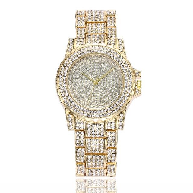 Luxury Brand Watch Women Fashion Rhinestone Stainless Steel Band Analog Ladies Q