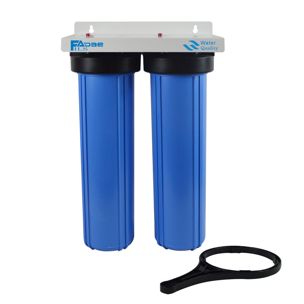 2-Stage Big Blue Whole House Water Filtration System with 20-Inch PP Sediment, Activated Carbon Filter and Wrench ,1-inch port em 307s 7 8 filter drier providing filtration in refrigeration system and hvac products