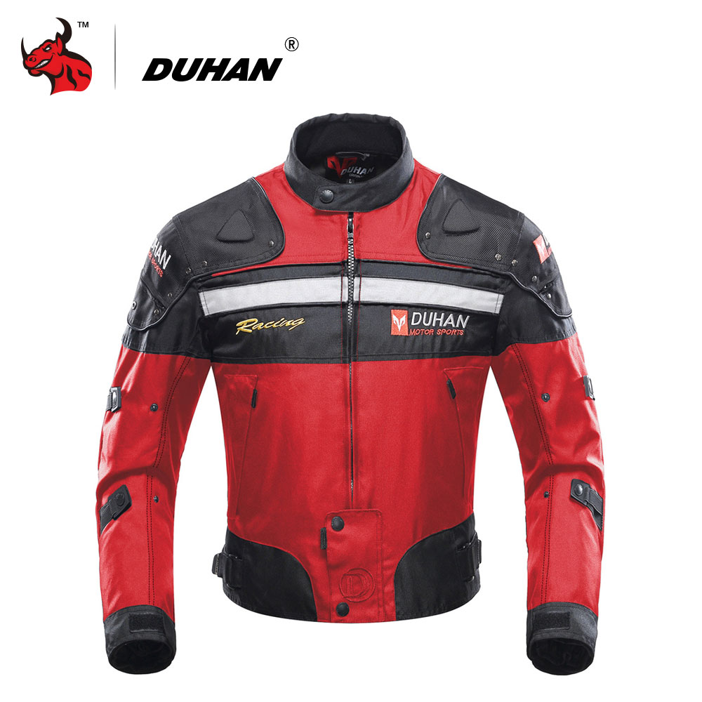 DUHAN Motorcycle Jackets Motorbike Windproof Racing Jacket Body Armor Protective Moto Winter Motor Jacket Red pro biker mcs 04 motorcycle racing half finger protective gloves red black size m pair