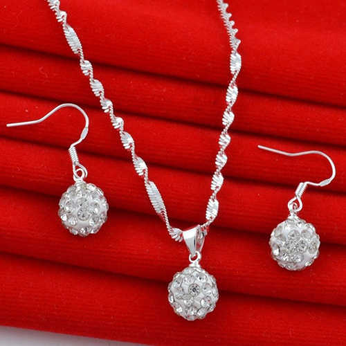 Women Fashion Silver Plated Rhinestone Ball  Simple Crystal Necklace Earrings Bride Wedding Jewelry Sets Women Party Gift