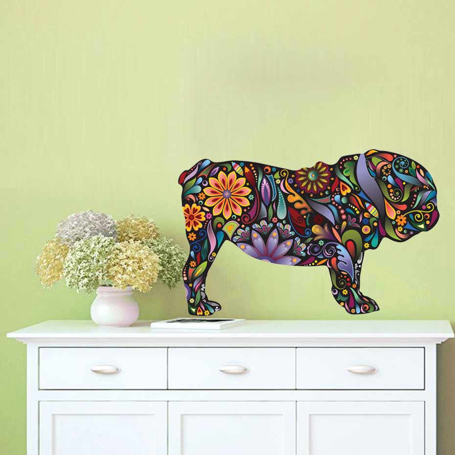 English Bulldog Dog Decal Vibrant Floral Pattern Wall Stickers Home ...
