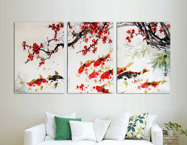 3 Piece Free Shipping Modern Wall Painting Cherry Blossom