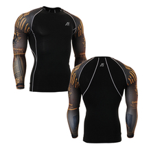 Fitness Mens 3D Prints Long Sleeves T-shirt Men Thermal Muscle Compression Shirts Bodybuilding MMA Top Gear