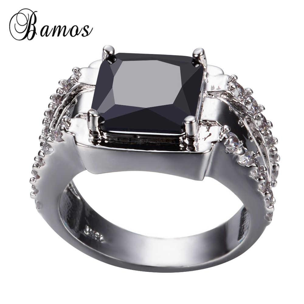 Bamos Thời Trang Nam Hình Học Màu Đen Vòng 925 Sterling Silver Bạc Đầy Đồ Trang Sức Vintage Wedding Rings Cho Nam Giới Đá Sinh Quà Tặng