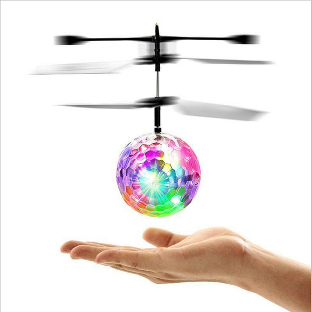 LED Flashing Light Aircraft Helicopter Induction Toy Mind Control Toy Children Outdoor Aircraft Toys Flying RC Toy Electric Ball(China)