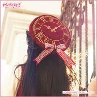 New Arrival Hot Women Girls Lolita Cartoon Tokisaki Kurumi Cosplay Hat Fashion Clock Design Vintage Beret Lace Bowknot Cap